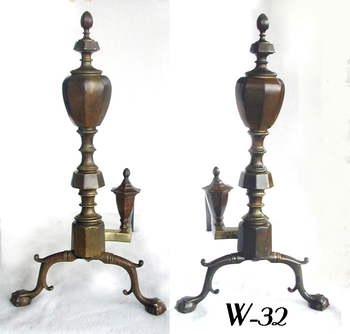 Antique Faceted Andirons