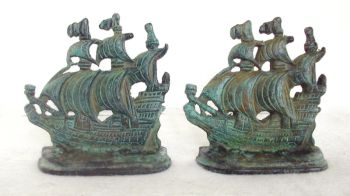 Bookends Pair Green Patina