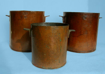 Set of Three Copper Cooking Pots