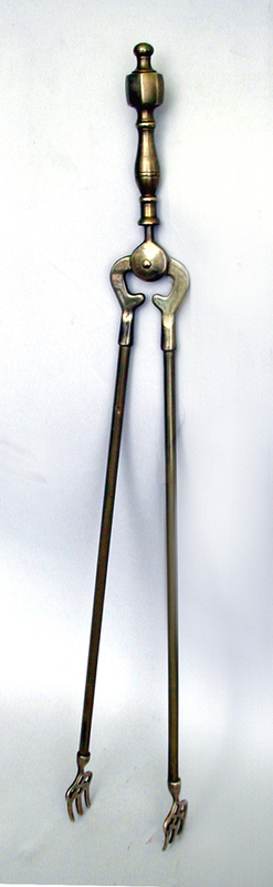 Victorian Fireplace Tongs with Ornate Fork Tips